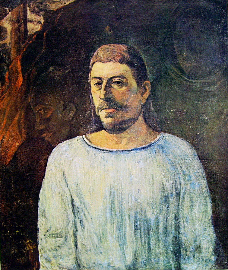 Paul Gauguin-autoritratto davanti a un calvario