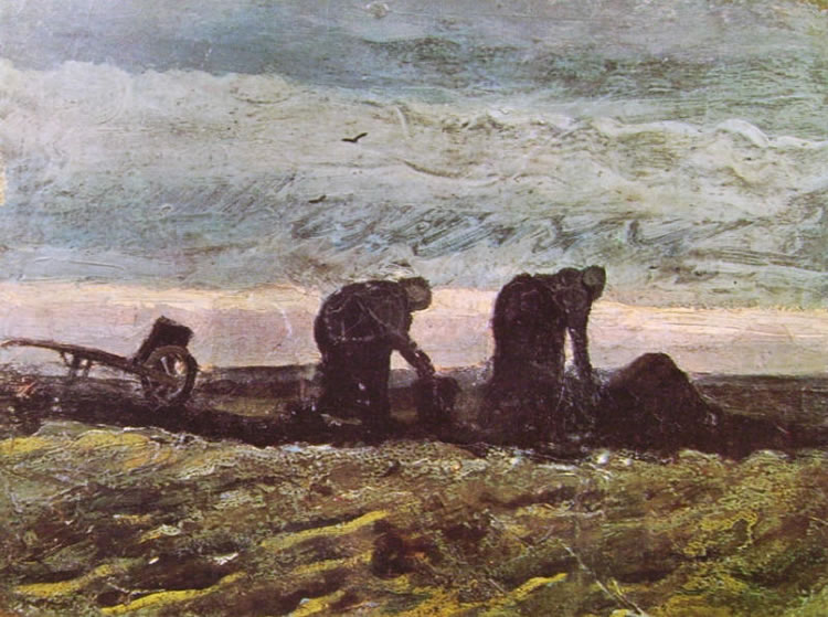 Van Gogh due contadine che vangano