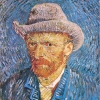 Van Gogh autoritratto dell'estate 1887 con cappello di feltro